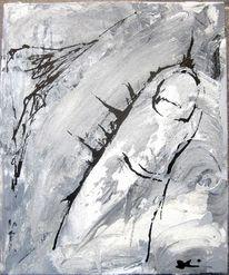 Schwarz weiß, Hände, Acrylmalerei, Grau