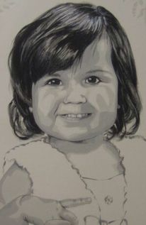 Malerei, Portrait, Schwarz, Acrylmalerei