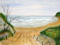 Strand, Weg, Aquarellmalerei, Meer