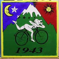 Bicycle day, Malerei, Satire