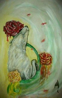 Grabstein, Wolf, Trauer, Blumen