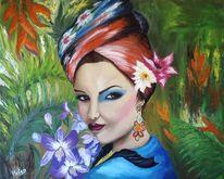 Gemälde, Exotisch, Mädchen, Orchidee