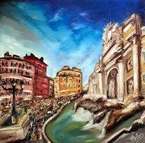 Stadt, Blau, Ölmalerei, Fontana