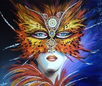 Gold, Gelb, Frau, Venezianische maske