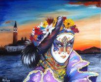 Malerei, Ölmalerei, Landschaft, Rot