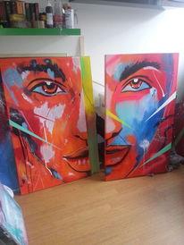 Menschen, Acrylmalerei, Abstrakt, Malerei