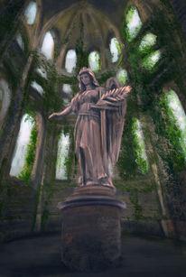 Ruine, Frau, Statue, Grün