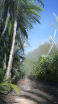 Blauer himmel, Palmen, Tropisch, Malerei