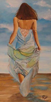 Wasser, Frau, Wolken, Strand