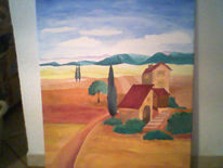 Mediterran, Landschaft, Malerei, Gift