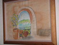 Mediterran, Malerei, Torbogen, Landschaft