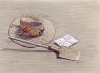 Hut, Goldgräber, Spaten, Bleistiftzeichnung