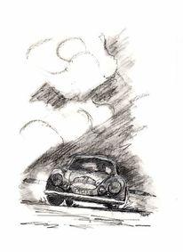 Porsche, Oldtimer, Bleistiftzeichnung, Zeichnungen