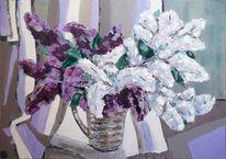 Malerei, Flieder, Blumen, Сирень