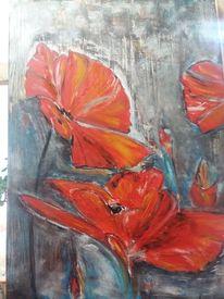Mohn, Rot, Abstrakt, Malerei