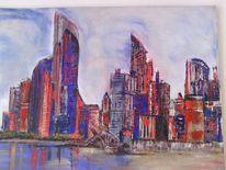 Spachteltechnik, Blau und rot, Abu dhabi, Skyline
