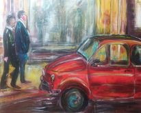 Stadtbummel, Rot, Fiat, Acrylmalerei