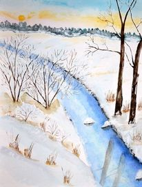 Winter, Aquarellmalerei, Schnee, Aquarell