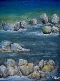 Wasser, Ufer, Stein, Fluss