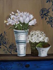 Ölmalerei, Tulpen, Weiß, Rose
