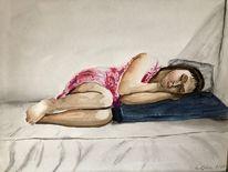 Aquarellmalerei, Kind, Mädchen, Schlaf