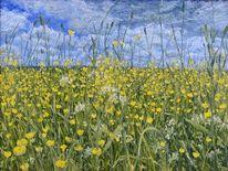 Blumen, Wiese, Leinen, Ölmalerei