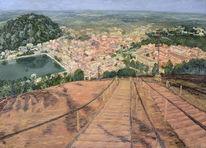 Ölmalerei, Indien, Leinen, Landschaft