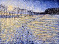 Winter, Leinen, Schnee, Ölmalerei