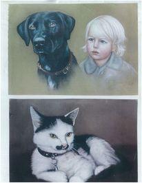 Kind, Tiere, Katze, Portrait