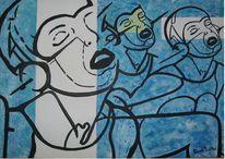 Leinen, Abstrakt, Schwarz, Blau