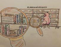 Bücher, Lupe, Bildung, Schwein