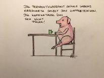 Schwein, Tisch, Kaffeetrinken, Perspektive