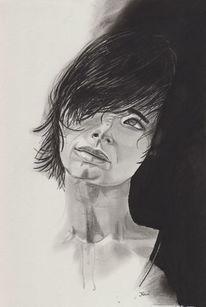 Portrait, Skizzenbuch, Kohlezeichnung, Bleistiftzeichnung