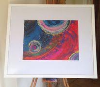 Malerei, Blau, Acrylmalerei, Spachteltechnik