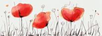 Rot, Tusche, Mohn, Gras