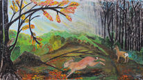 Hase, Reh, Wald, Herbst
