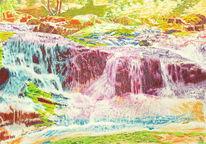 Spektralfarbe, Naturmalerei, Harz, Wasserfälle