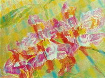 Orchidee, Rot, Blumen, Malerei