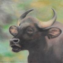 Naturalistisch, Tiere, Ölmalerei, Stier