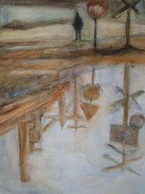 Aquarellmalerei, Pfütze, Industrie, Spiegelung