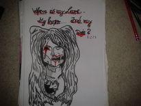 Edding, Rot schwarz, Zeichnung, Bleistiftzeichnung