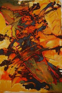 Ölmalerei, Mischtechnik, Orange, Acrylmalerei