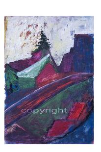 Expressionismus, Blau, Schnee, Landschaft