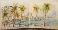 Meer, Karibik, Aquarellmalerei, Sketching