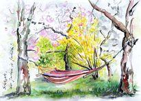 Aquarellmalerei, Skizze, Garten, Aquarell