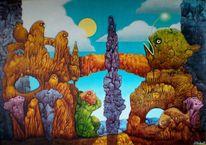 Vogel, Malerei, Decalöcomania, Korallen