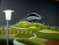 Malerei, Natur, Nacht, Weg