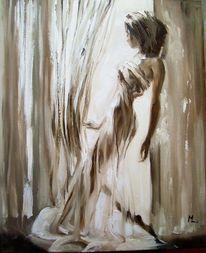 Braun, Frau, Ölmalerei, Engel