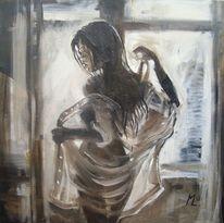 Braun, Frau, Fenster, Ölmalerei