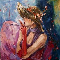 Figural, Zigarette, Ölmalerei, Retro